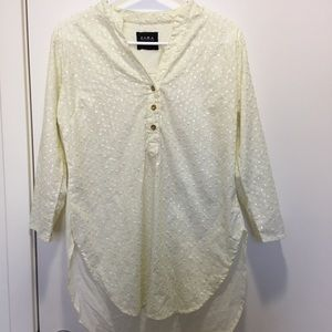Zara 3/4 Sleeve Beige Floral Embroidered Blouse